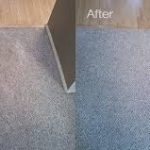 Carpet cleaning services being performed
